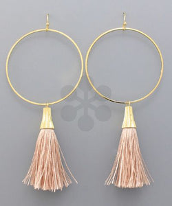 Tassel and Ring Earrings - Blush and Orange