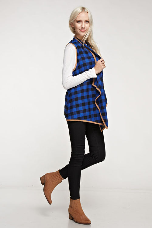 Plaid Print Waterfall Vest - Blue