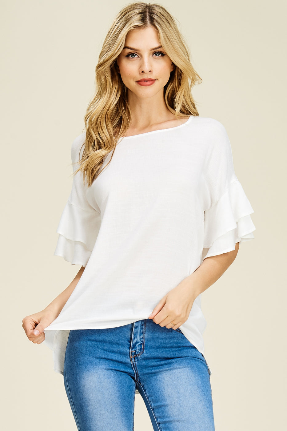 Black Ruffle Sleeve Top (Shown in White)