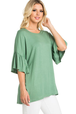 Ruffle Sleeve Tunic - Spring Green