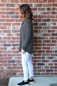 Black and White Striped Cowl Neck Brushed Top