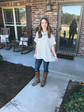 Cowl Neck Pancho Sweater in Taupe