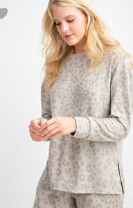 Brushed Animal Print Top