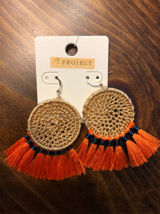 Woven Disc and Tassel Earrings