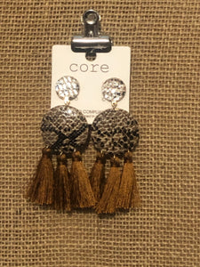 Reptile Disc Tassel Earrings
