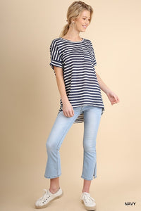 Navy Striped Top