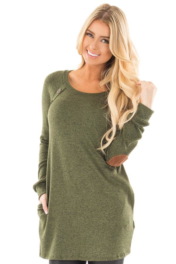 Tunic with Pockets in Mustard - (Shown in Olive in Picture)