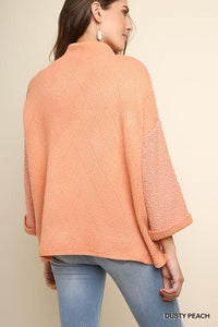 Dusty Peach High Low Diamond Back Sweater
