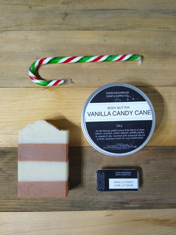 Vanilla Candy Cane Bath and Body Kit