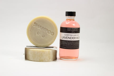 Natural Hair Rinse with Lavender and Roses. Keep your hair soft, smooth and shiny with this rinse. Pair it with your favourite natural shampoo bar for amazing results.