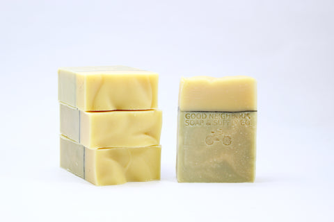 ALL NATURAL SOAP MADE WITH LIME AND COCONUT. GOOD NEIGHBOUR SOAP.