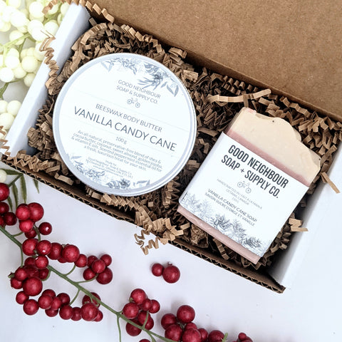 Vanilla Candy Cane Soap + Body Butter Gift Set | Natural Bath & Body