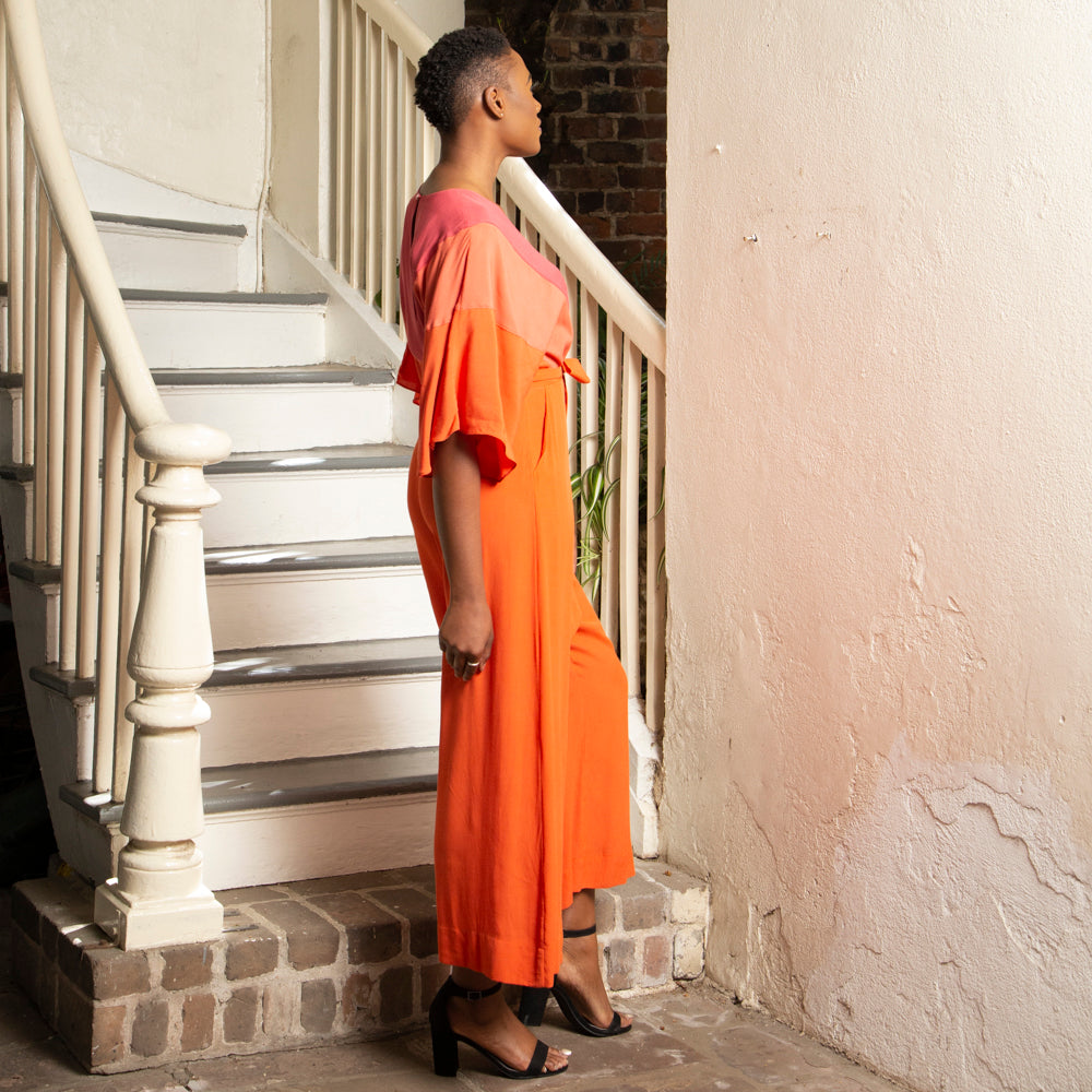 THREE TONE ORANGE JUMPSUIT
