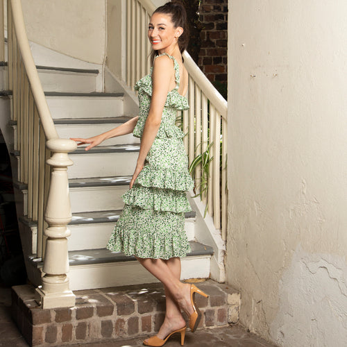 RUFFLED DRESS WITH TIERS