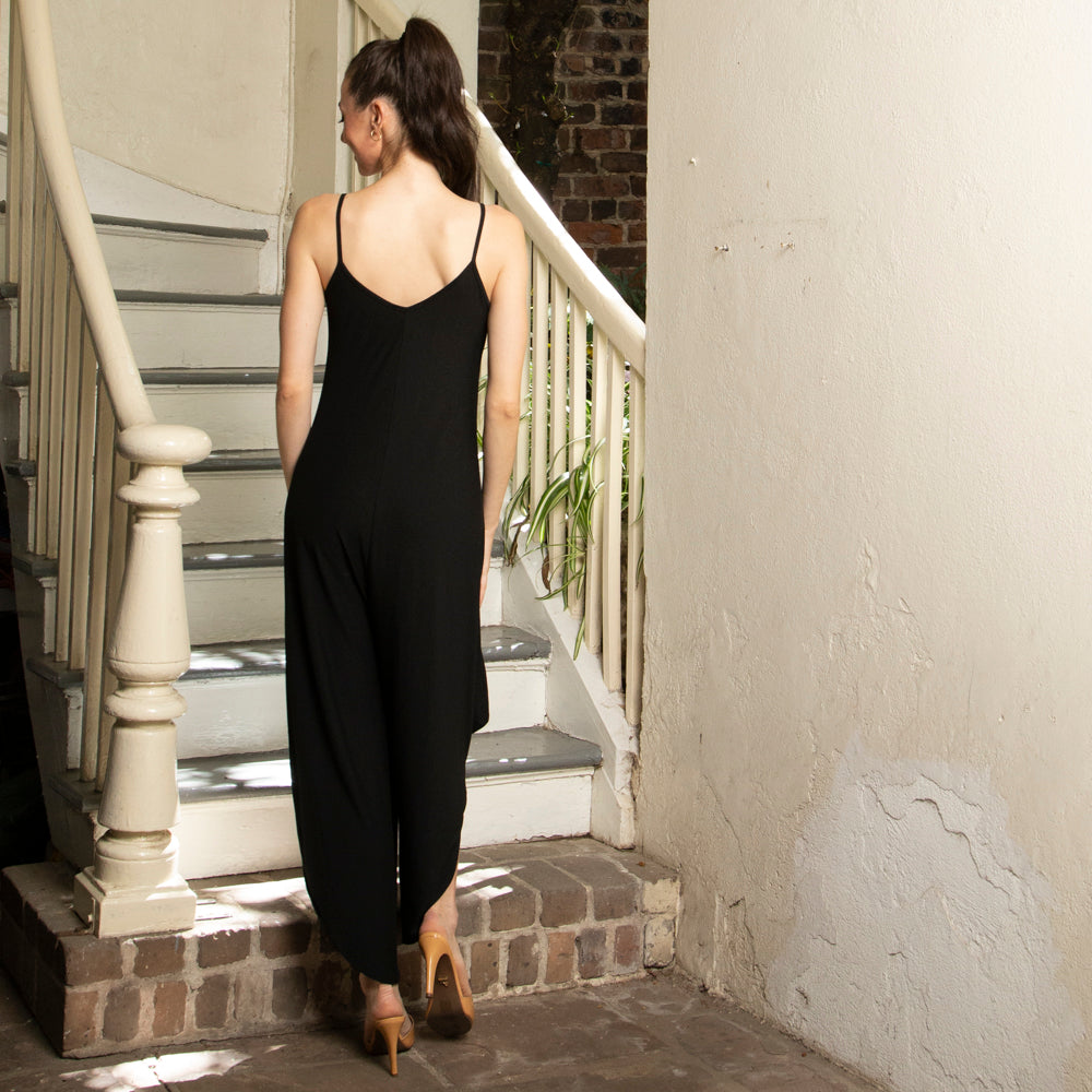 DIAMOND LEG HALTER JUMPSUIT