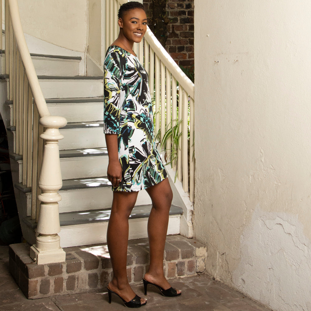 SHEATH DRESS | JUNGLE LEAF DESIGN
