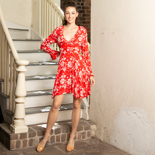 RUFFLE DRESS | LOW CUT | RED WILDFLOWER