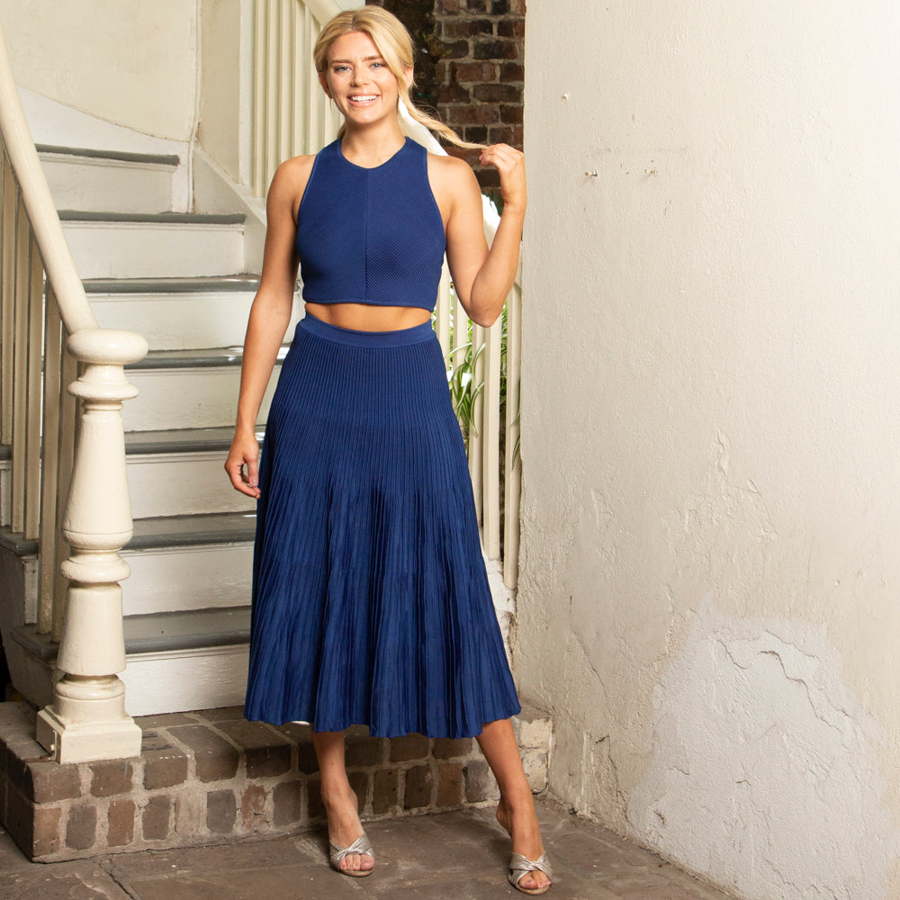 KNIT SKIRT  | FLARED & RIBBED | COBALT