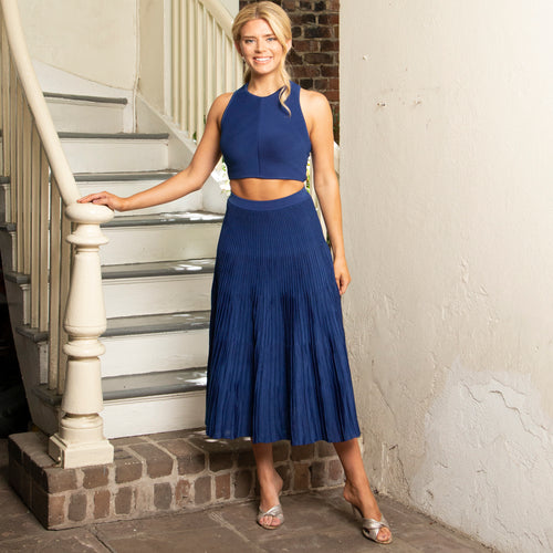 COBALT KNIT RIBBED SKIRT