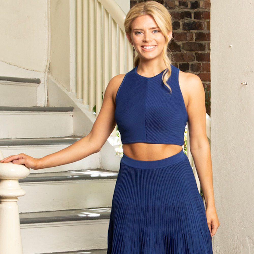 KNIT CROPPED RIBBED TANK | COBALT