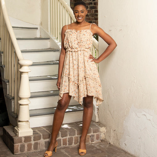 Ruffle Summer Dress with Handkerchief Hem