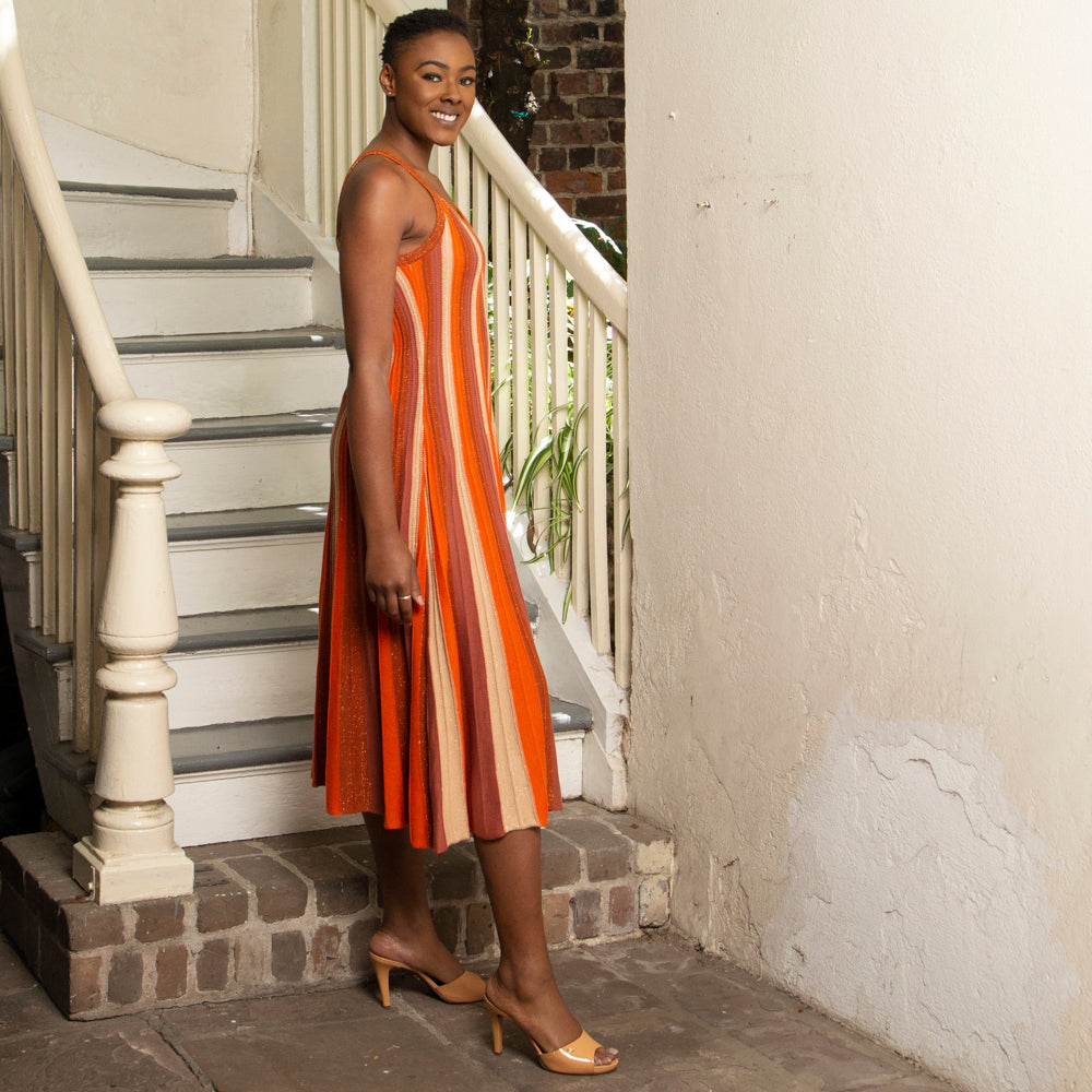 SPARKLE ORANGE TONAL KNIT SLIP DRESS