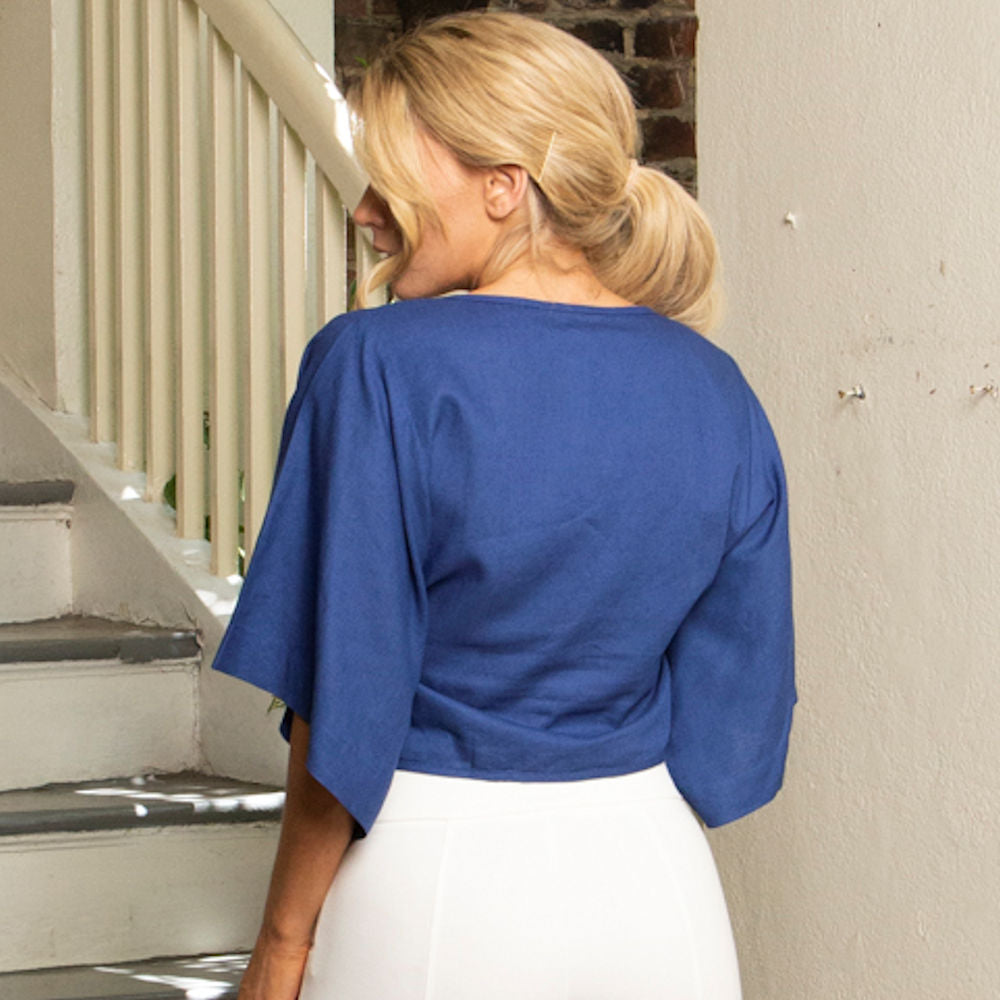 CROPPED TIE TOP | COBALT