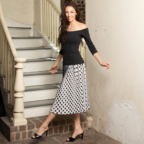 PLEATED BLACK POLKA DOT SKIRT