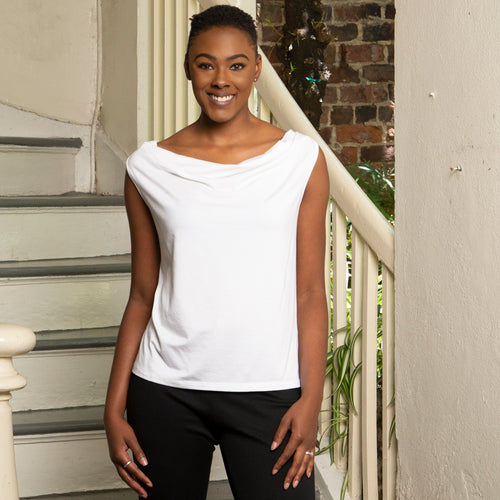 DRAPE NECK COTTON TOP