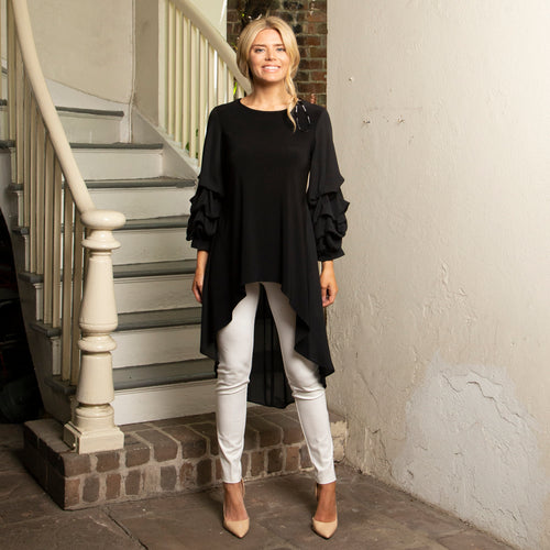 BLACK HI-LO PUFF SLEEVE TUNIC