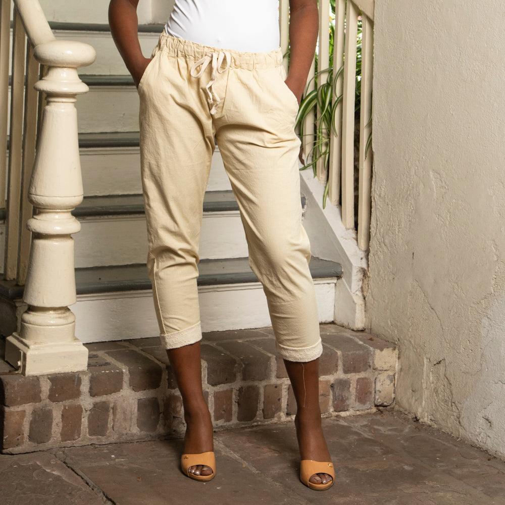 COTTON/LINEN DRAWSTRING CAPRIS
