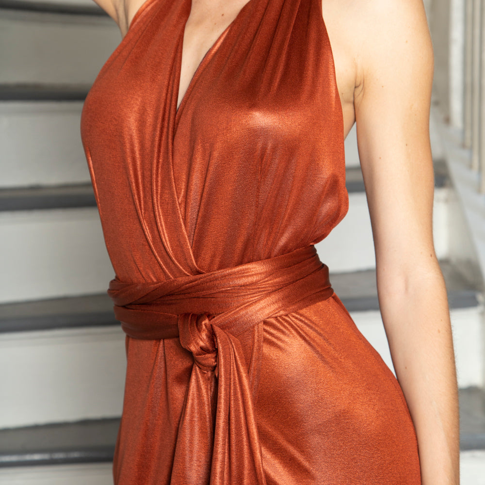 FAUX WRAP DRESS | HALTER STYLE | EVENING WEAR