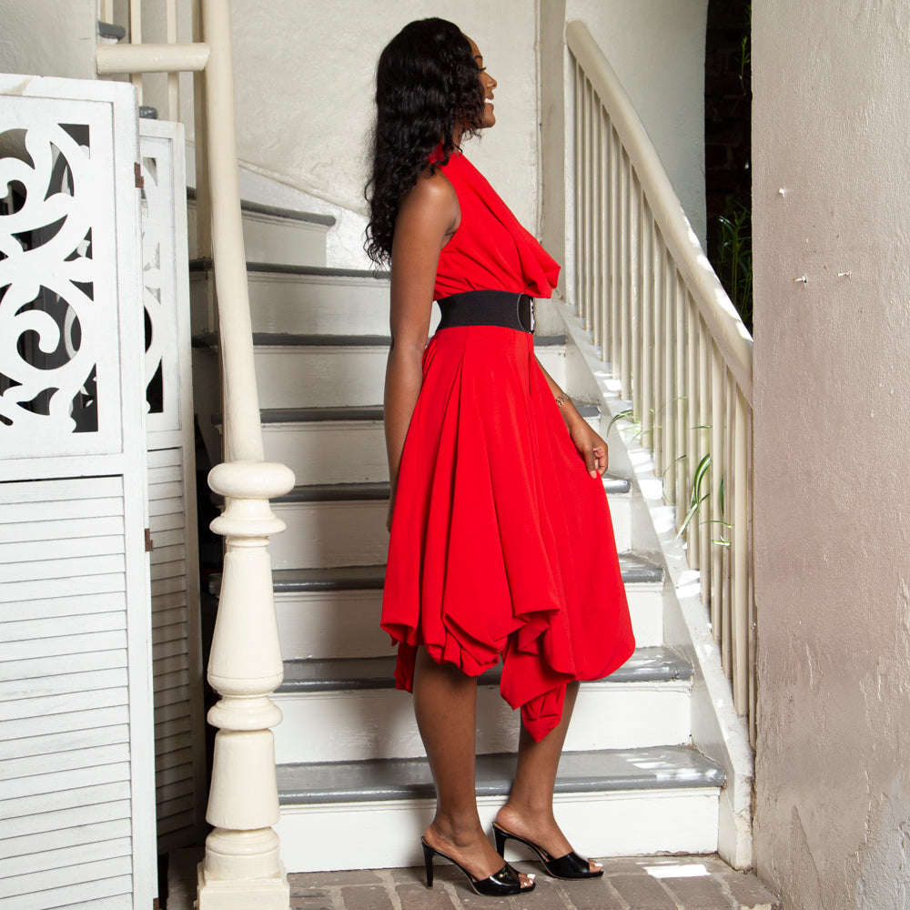 RED BUBBLE DRESS WITH DRAPE NECKLINE
