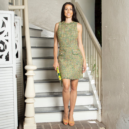 METALLIC TWEED SHEATH DRESSES