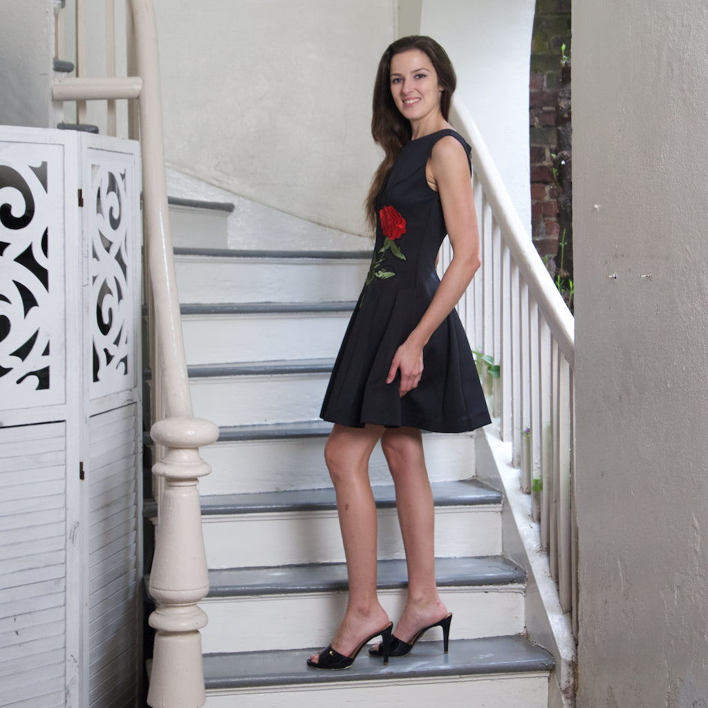 RED ROSE BLACK FIT FLARE DRESS