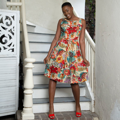 1950 STYLE DRESS | RED FLORAL PRINT