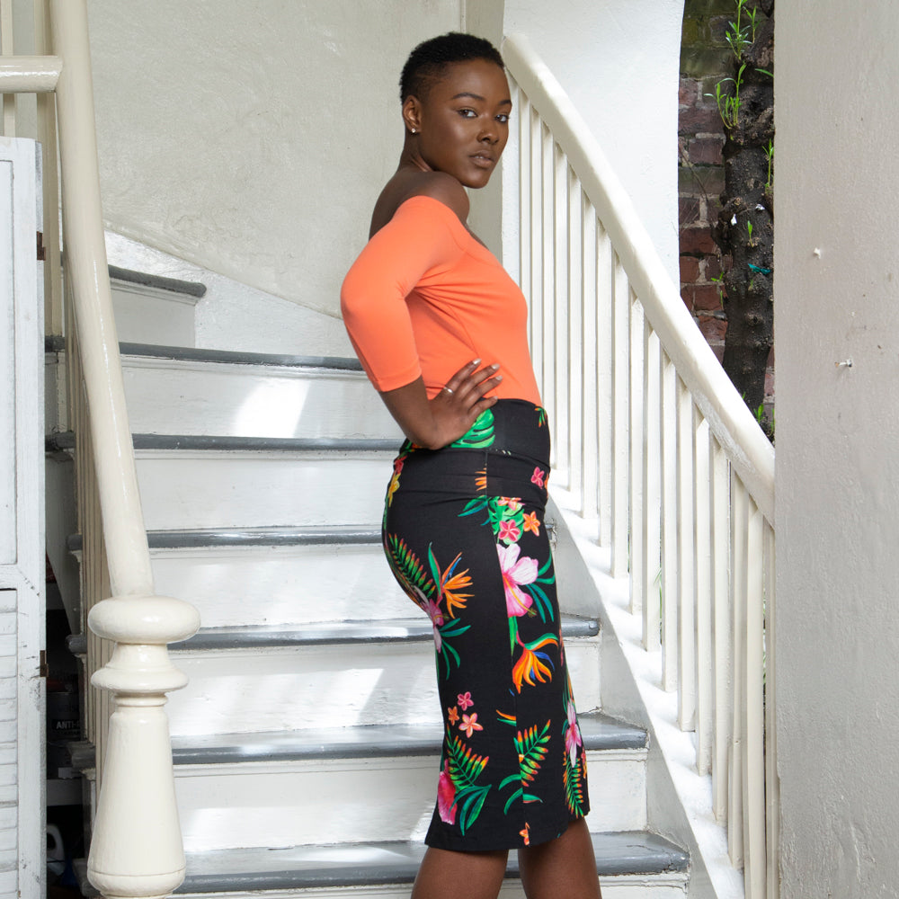 FOLD OVER SKIRT | BLACK PARADISE FLORAL