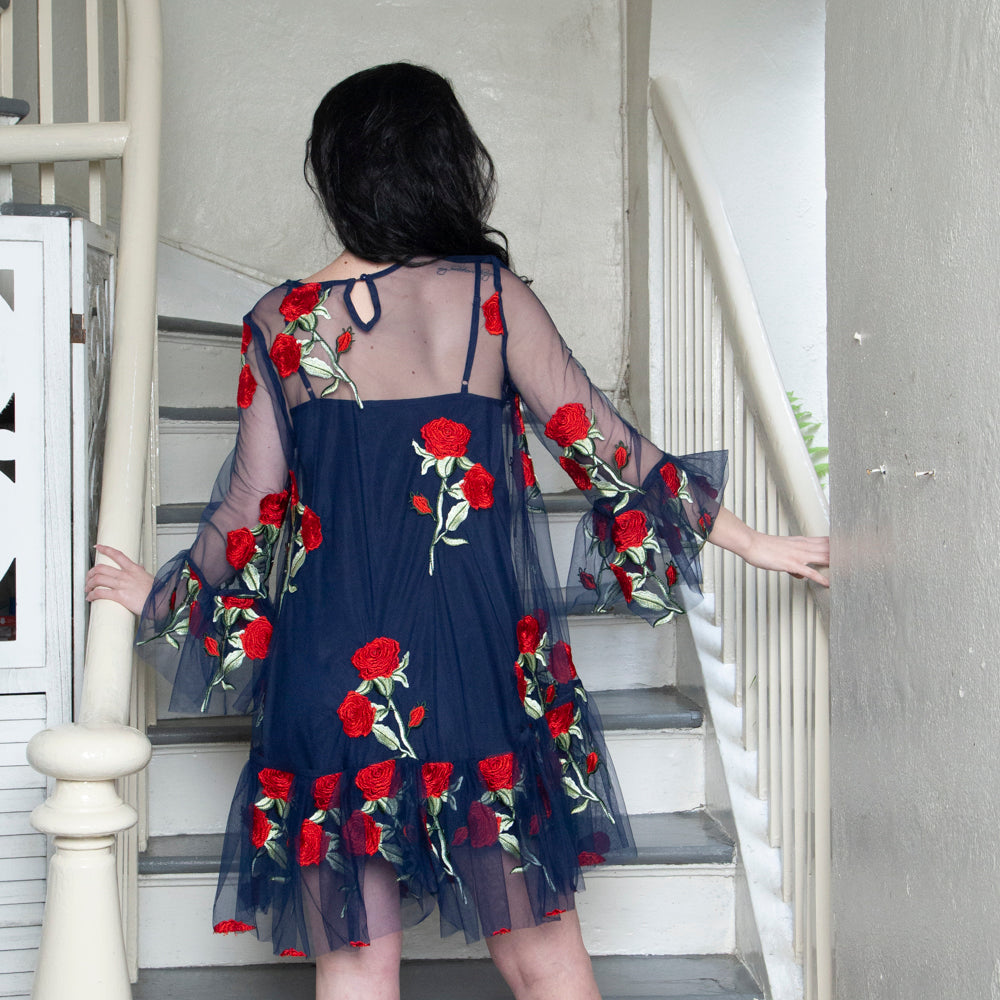 EMBROIDERED DRESS WITH ROSES | NAVY