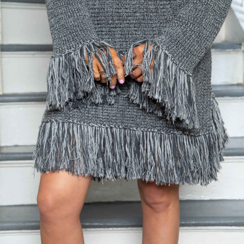 SWEATER DRESS | FRINGED | GREY