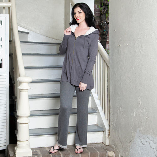 CASHMERE BLEND GREY HOODIE & PANT