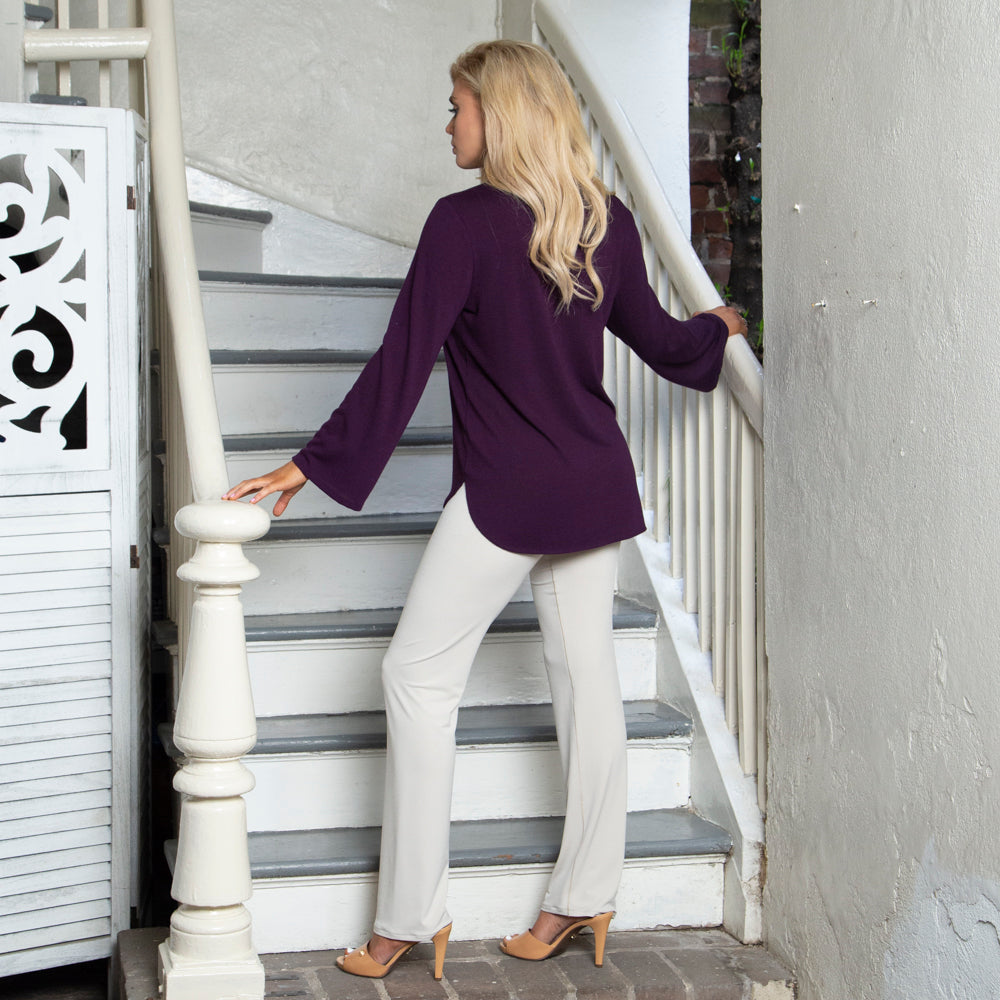 PLUM LACE UP SWEATER