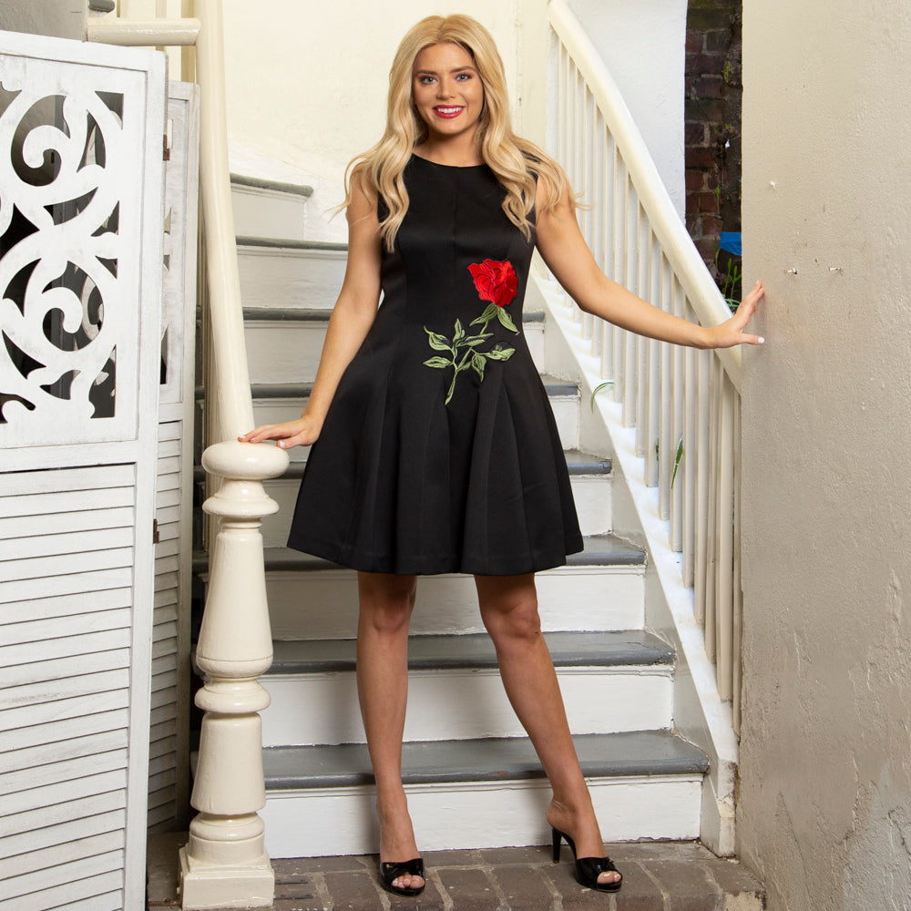 FIT AND FLARE DRESS | BLACK WITH EMBROIDERED ROSE