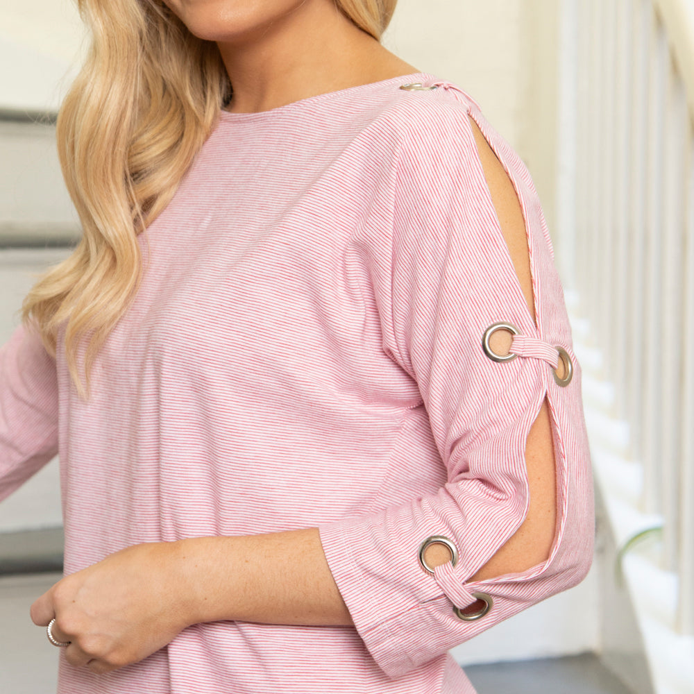 PINK COTTON TOP WITH GROMMETS | 3/4 SLEEVE