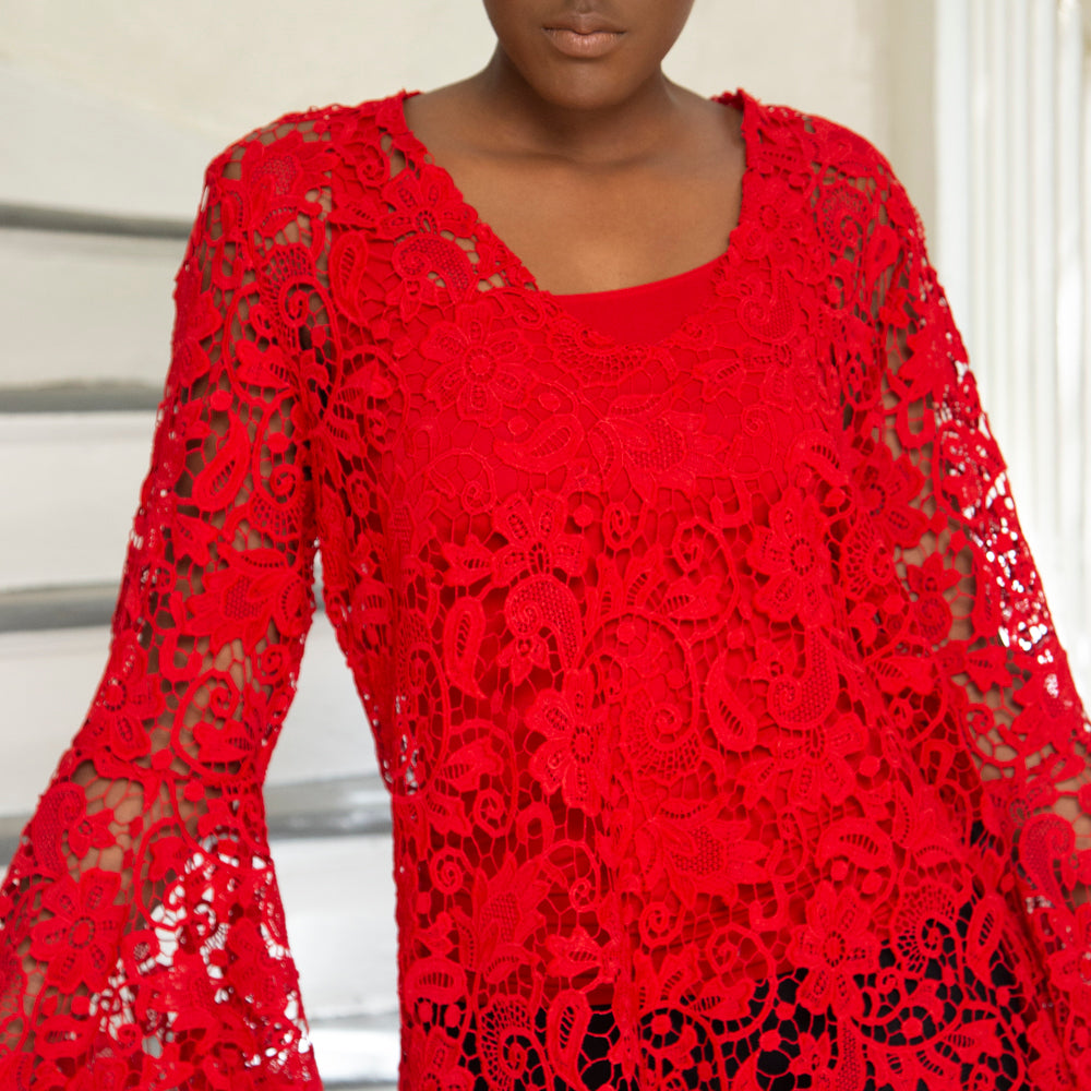 RED CROCHET BLOUSE WITH BELL SLEEVES