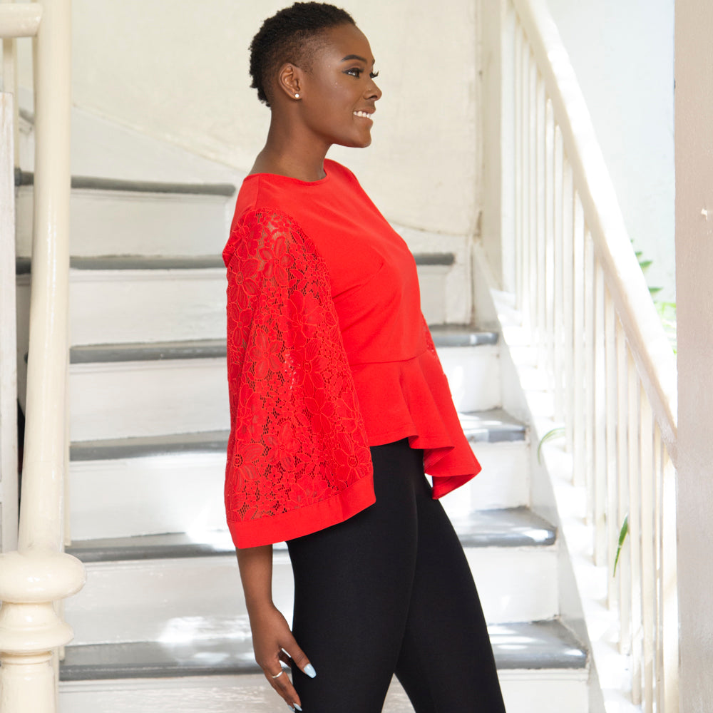 RED PEPLUM LACE SLEEVE TOP