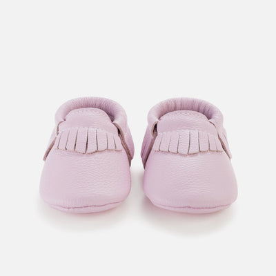 Lavender Leather Baby Moccasins