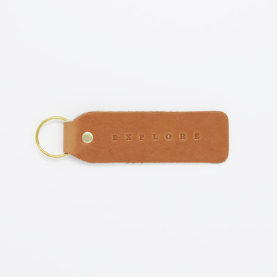Twin Sparrow Explore Hand Stamped Leather Keychain