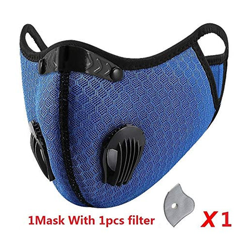 Sport Face Mask Cycling Maske Activated Reusable Carbon Filter Safety Mask Windproof Dust-Proof Outdoor Sports Bibs Running Bike Cycling Dust Filter Mask