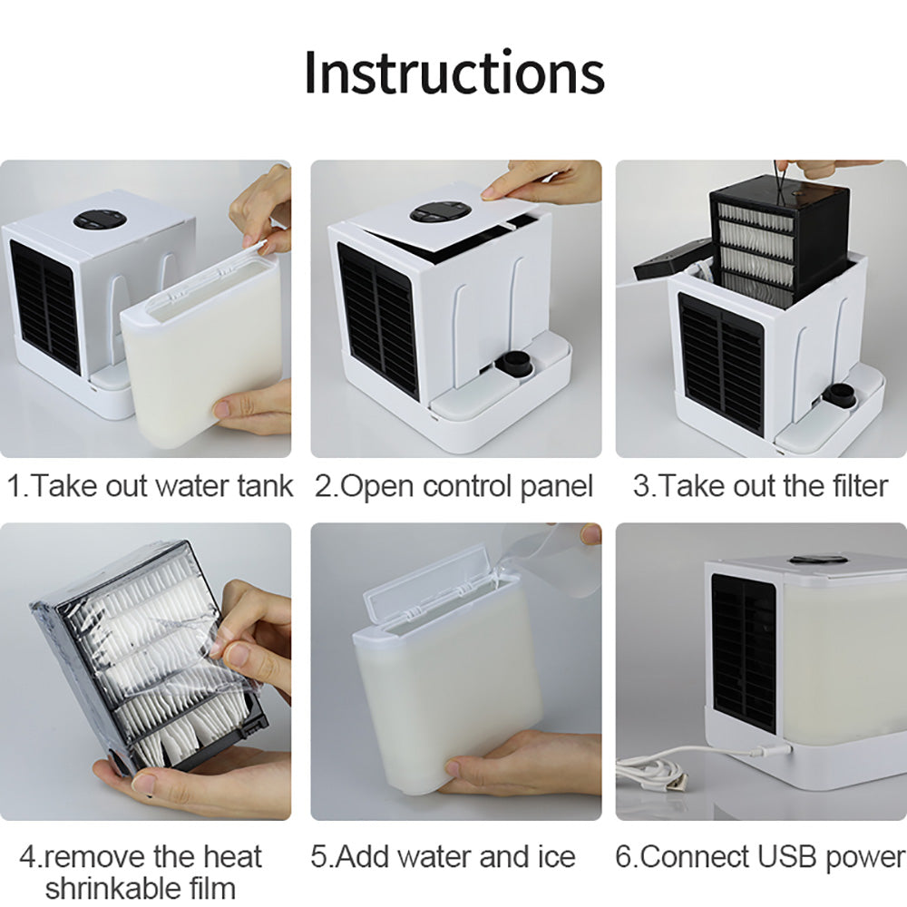 New ARCTIC Air Personal Space Cooler Quick&Easy Way to Cool Any Space Mini Air Cooler Humidifier&Purifier 7 Color Adjustable LED Lights Arctic cooler Portable Air Conditioner LCD Display