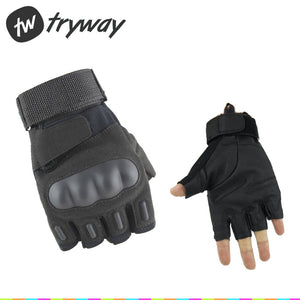 Tactical Gloves Military Black Army Adjustable leather Gloves Carbon Fiber Tortoise Shell Gloves